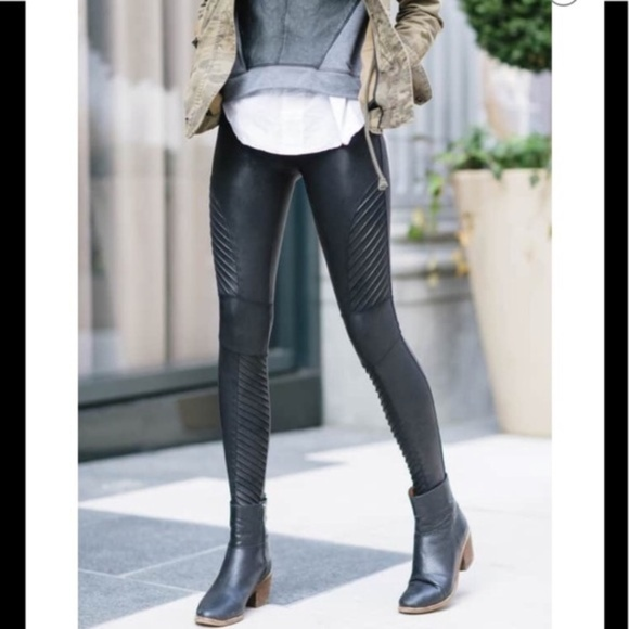 56659bd07893d2 SPANX Pants   Faux Leather Moto Leggings Black   Poshmark